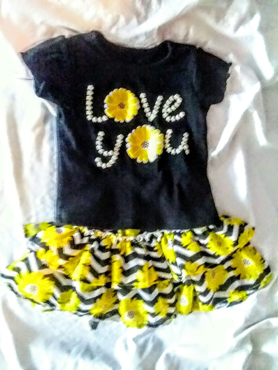 fun tee and ruffle sunflower skirt set
