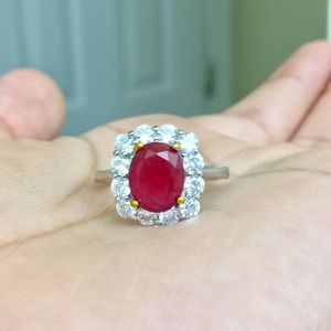 Sterling silver plated ruby red Christmas jewelry ring for Sale in Silver Spring, MD