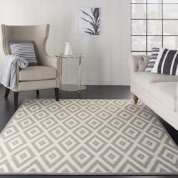 Nourison Grafix Rectangle 6'X9' White And Grey Area Rug 099446719553 Thumbnail