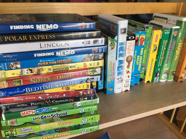 Disney DVDs and videos, learning DVDs and videos, bookcase for Sale in  Rockledge, FL - OfferUp