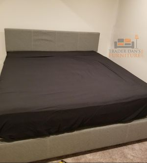 Brand New King Size Grey Linen Upholstered Platform Bed Frame ONLY for Sale in Silver Spring, MD