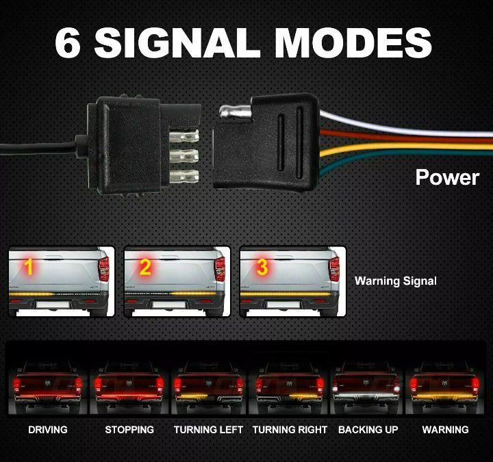 🚨🚦NEW 3X BRIGHTER TRUCK TAILGATE LED STRIP 3RD BRAKE LIGHT! 5 SIGNAL FUNCTIONS🚦🚨