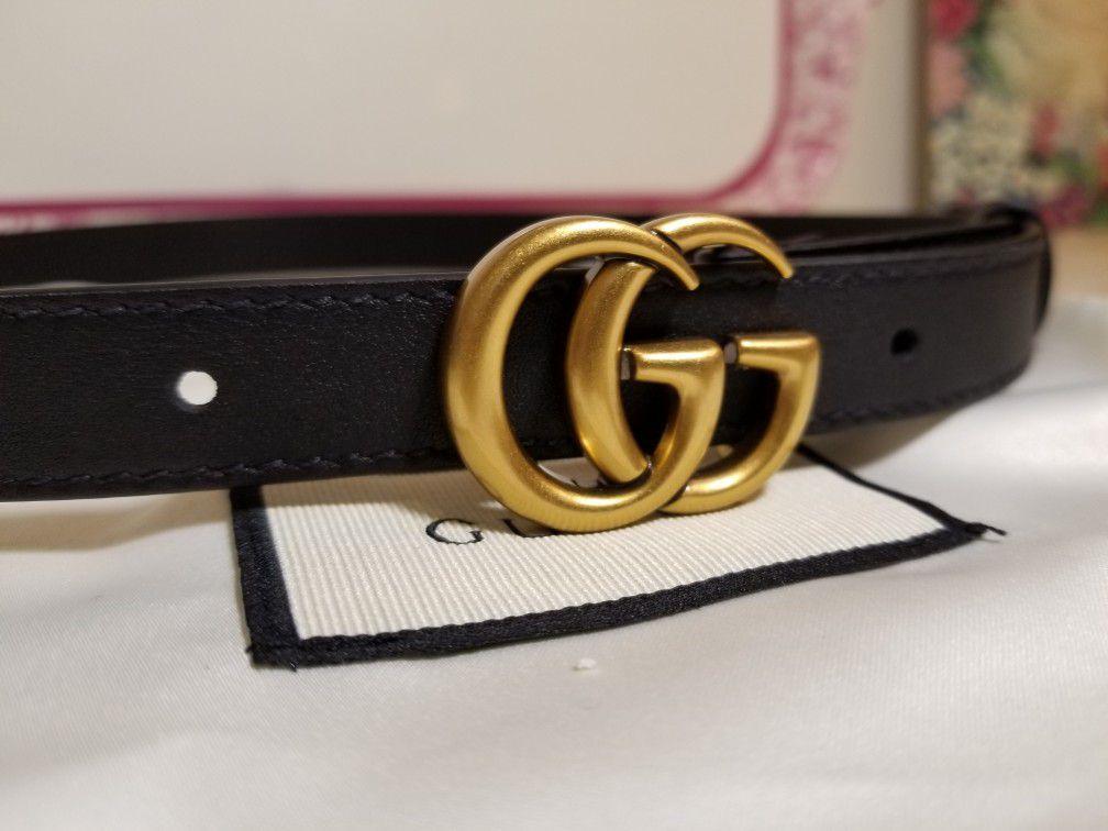 "Gucci Black Skinny Belt 0.80"" Authentic"