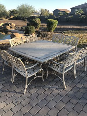 Beautiful Heaven Duty Outside Patio Set 8 Heavy Metal Chairs With Square Stone Top Table Never
