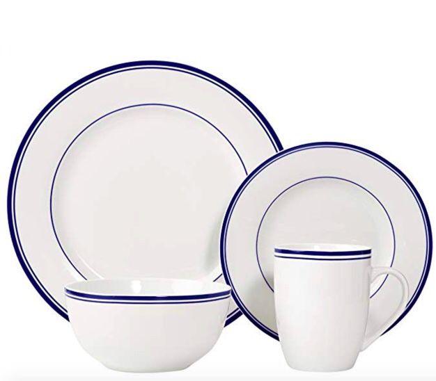 NEW with original box, Amazon basics Dinnerware, plates, bowls, mugs