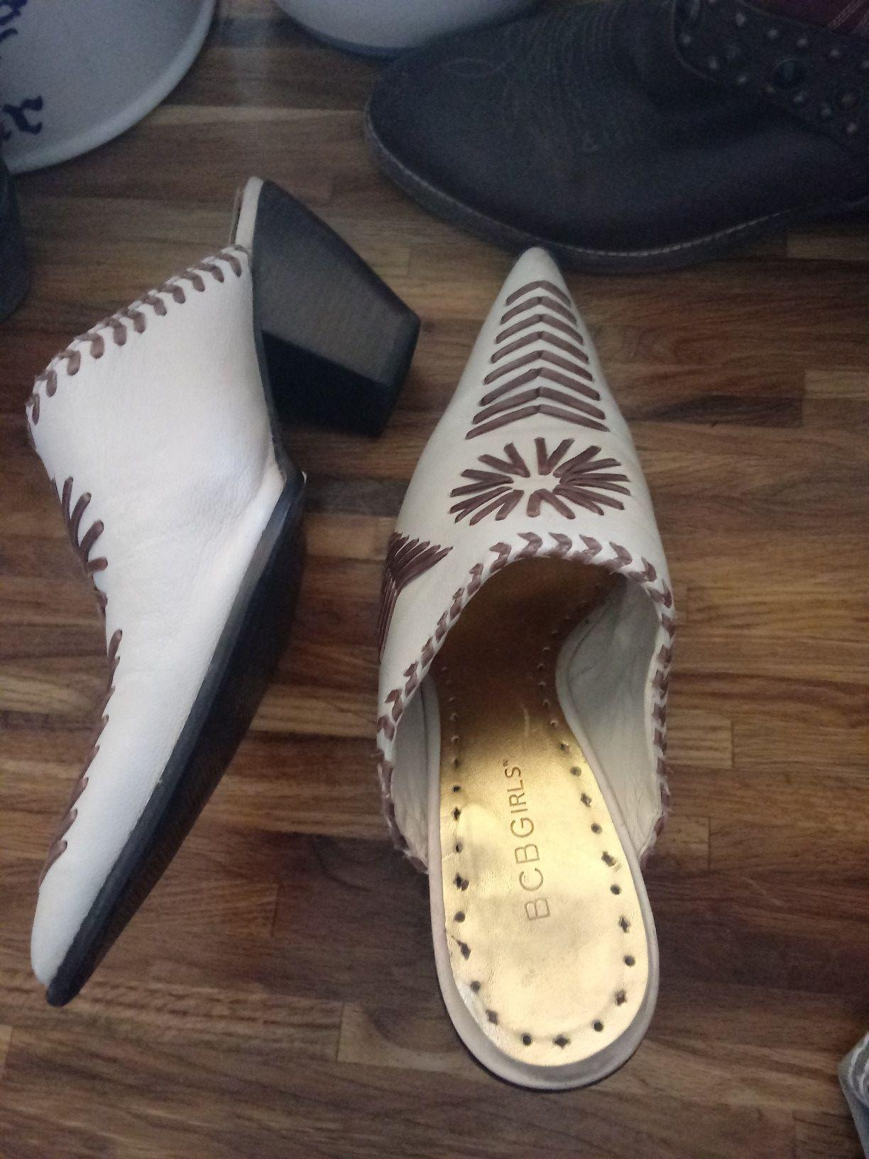 BCBG leather mule healed clog slip-on boot