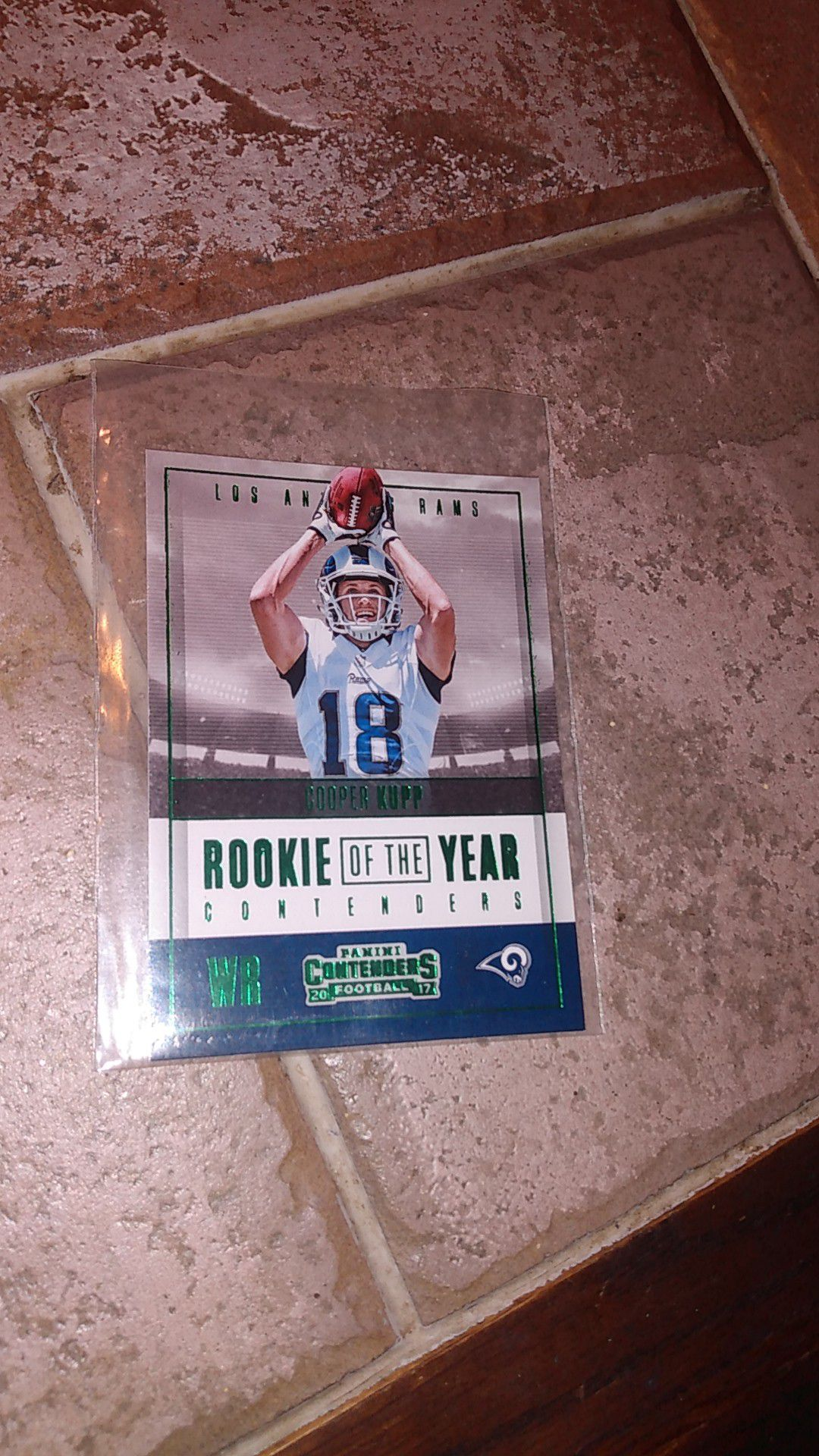 2017 Green Panini contenders Cooper Kupp Rookie of the year card