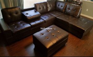 3-PC Espresso Brown Sectional w/ Storage Ottoman & Cupholder for Sale in Richmond, TX