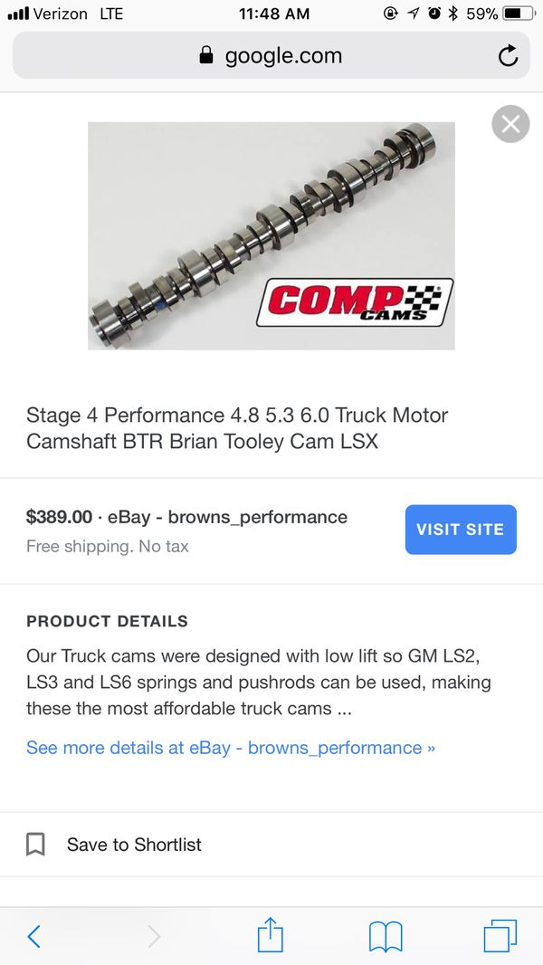 Comp Cam/Btr Stage 4 Cam For 4 8 5 3 6 0 Ls Truck Motors for Sale in San  Jose, CA - OfferUp