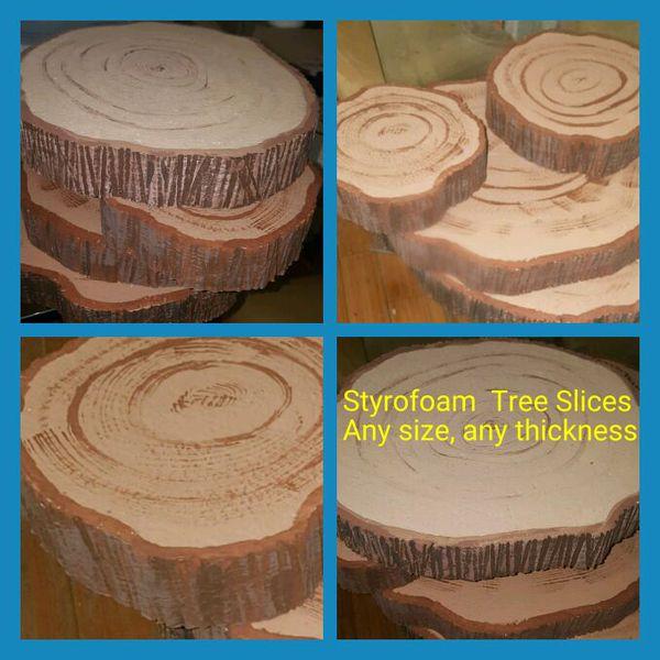 Styrofoam Wood Tree Slices Stump Wedding Centerpiece Candy