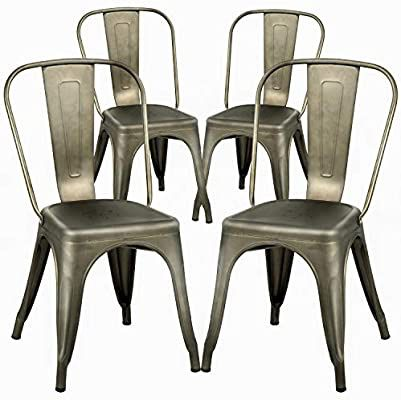 NEW $30 Each Metal Iron Steel Chair Black White or Gun Metal Color Stackable 340 lbs Capacity Dining Indoor Outdoor Chair