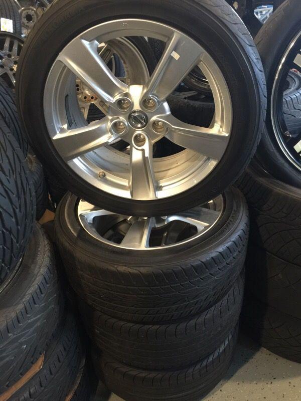18x8 Nissan OEM Wheels for a 350Z-370Z 5x114.3 on 225-30-18 Yokohama ...