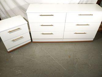 New White Dresser Mirror And 2 Nightstands Golden Handles  Thumbnail