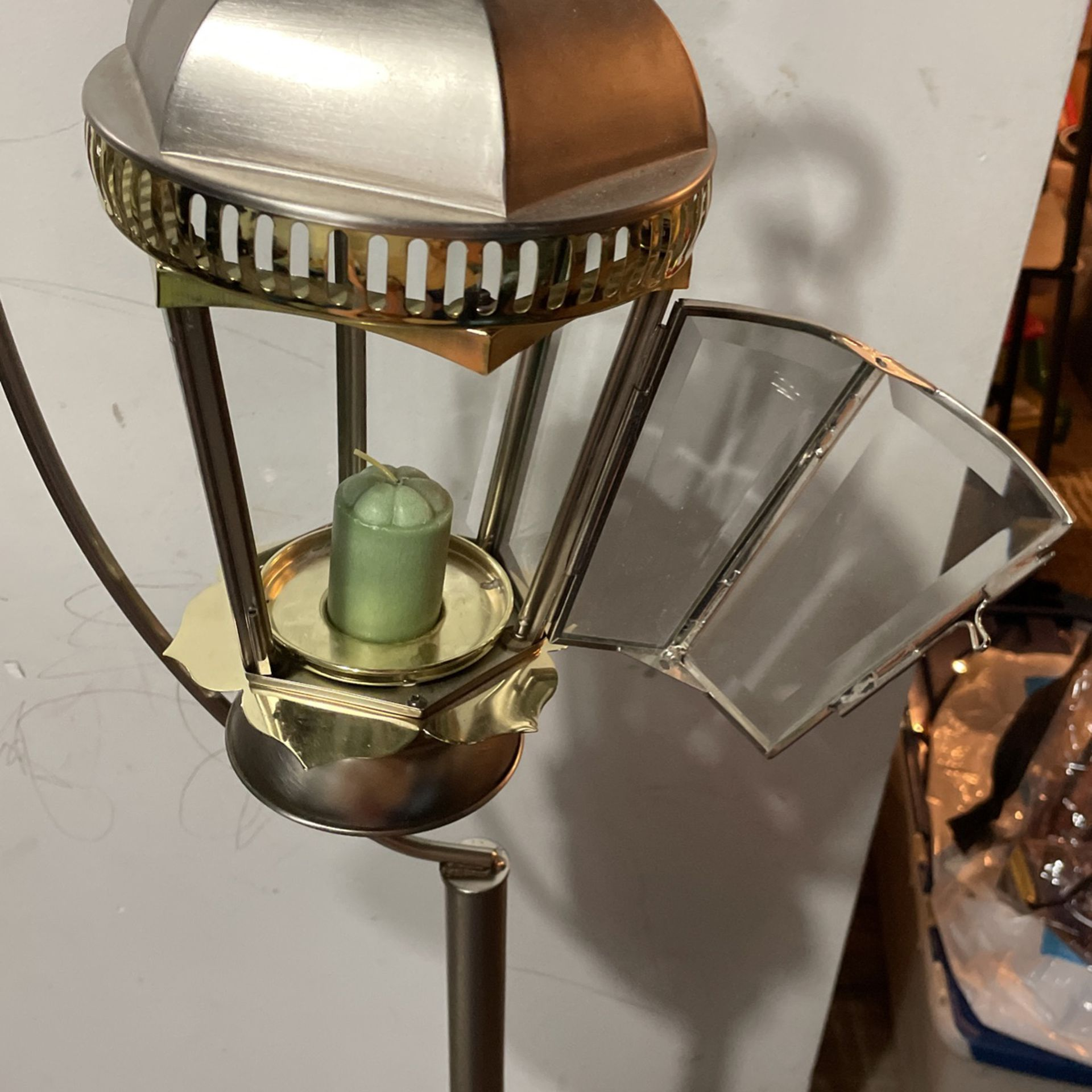 Traditional Tall Metal Lantern With Candles  (obo)