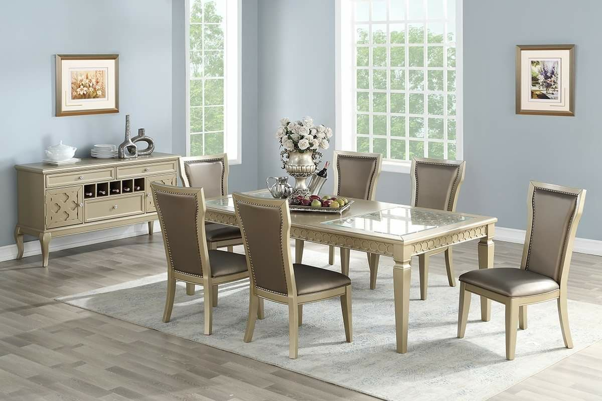 ANTIQUE GOLD CHAMPAGNE FINISH 7 PIECE DINING ROOM TABLE SET