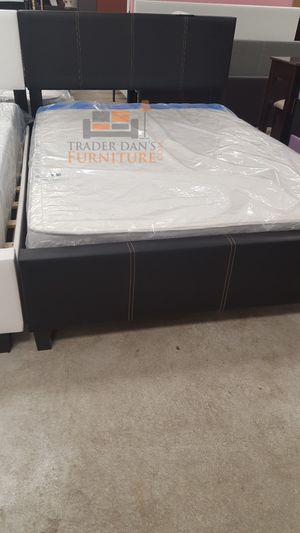 Brand New Full Size Brown Leather Platform Bed + Mattress for Sale in Silver Spring, MD