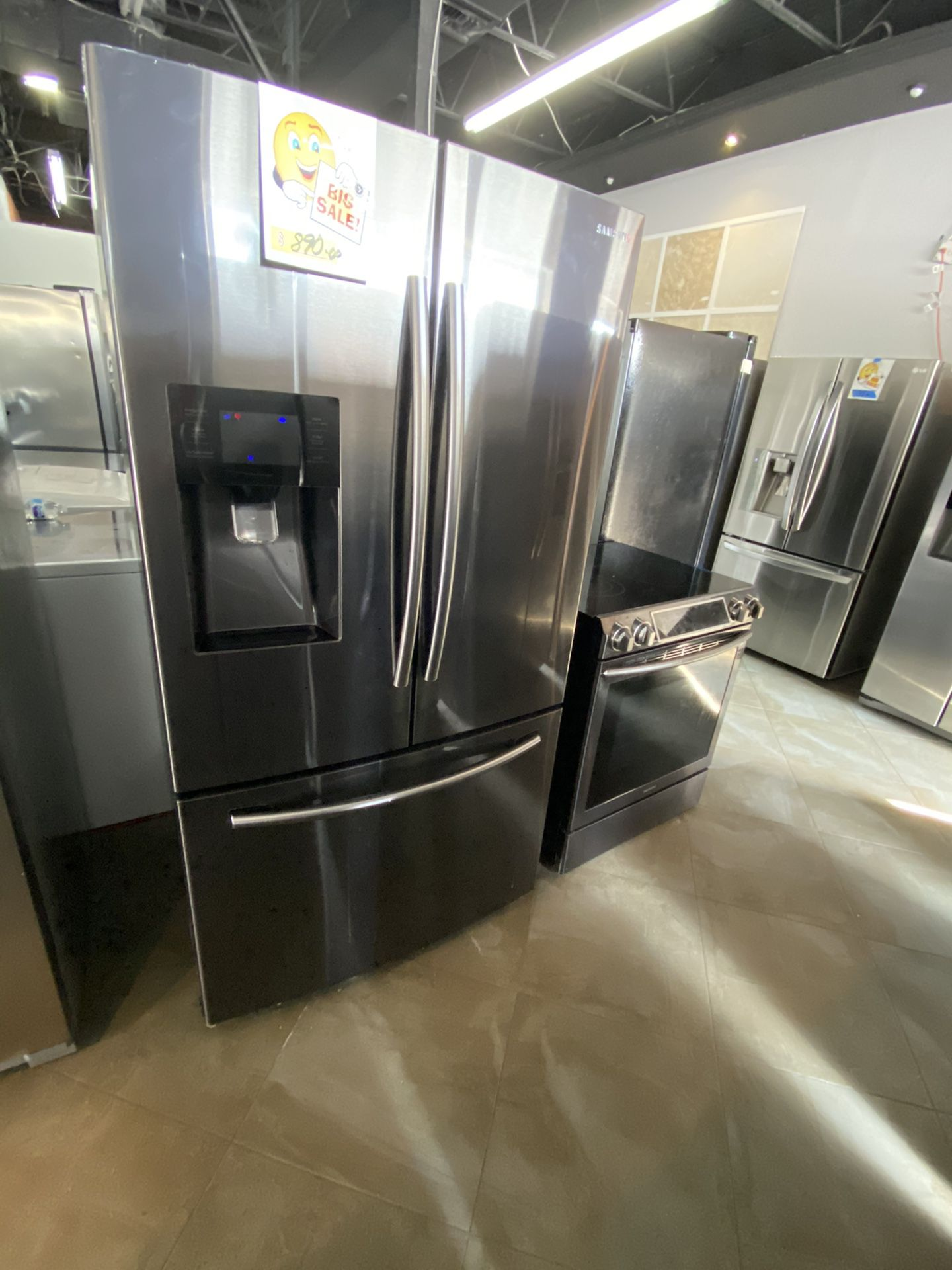 """Samsung stainless steel refrigerator 36"""" wide working perfect and 45 days warranty. Delivery service available"""