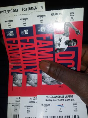 3 lowe level tickets wizards vs lakers for Sale in Washington, DC