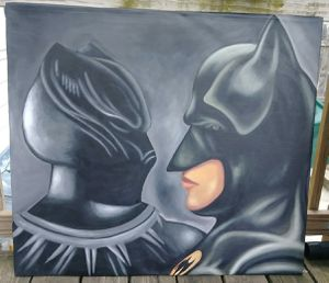 Stretched Black Panther vs Batman canvas painting #2 for Sale in Washington, DC