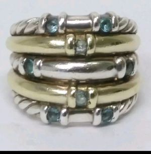 David Yurman Metro Blue Topaz SS /14k Gold 5 row ring for Sale in Aldie, VA