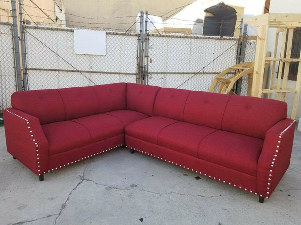 NEW 7X9FT CASSANDRA WINE FABRIC SECTIONAL COUCHES for Sale in Las ...