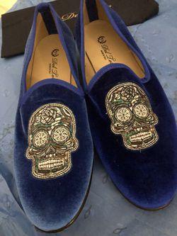 Del Toro Blue Velvet Skull & Bone Slipper (Size 10 1/2) Thumbnail
