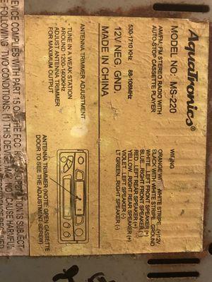 Aquatronics MS-220 Marine radio/cassette player for Sale in Lithia Springs,  GA - OfferUp
