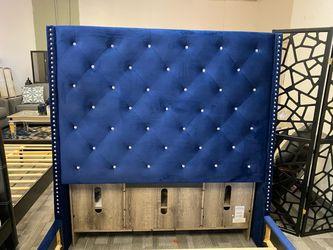 Blue Velvet Queen Size Bed Frame Thumbnail