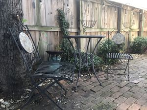 Beautiful Stone & Metal Bistro Table Set with Two Chairs - $75 for Sale in Alexandria, VA