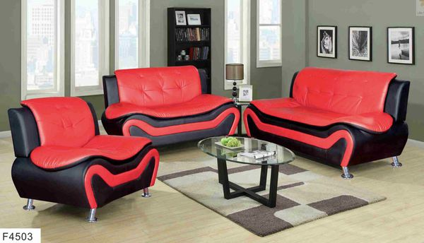 New black/red faux leather sofa, love seat, chair for Sale in SeaTac ...