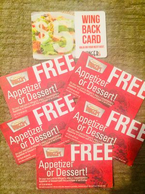 Wingers Free Appetizer or Dessert and $5 off your bill Coupon for Sale in West Jordan, UT
