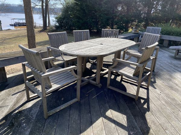 Kingsley Bate Teak outdoor Table 6 chairs for Sale in ...