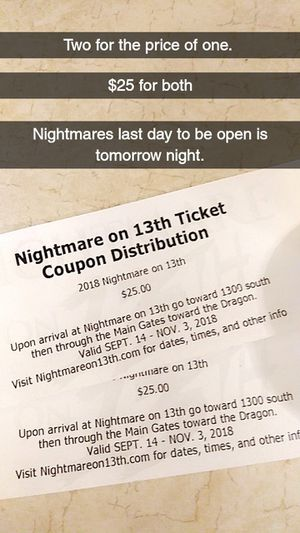 2 for 1 nightmare on 13th tickets for Sale in West Jordan, UT