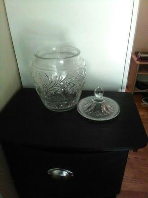 Photo Vintage glass cookie jar