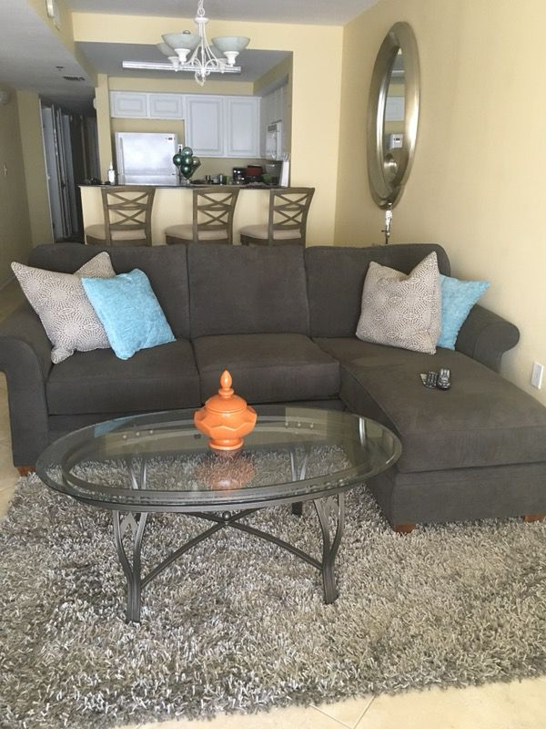 Haverty S Furniture Kara Chofa Charcoal Grey Microvelvet Bought New Jan 17
