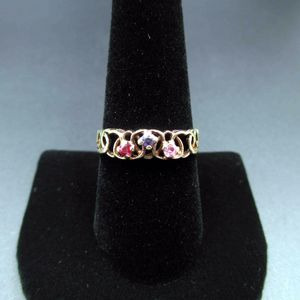 Vintage Size 9 10K Yellow Gold Topaz Amethyst & Ruby Heart Band Ring Wedding Engagement Anniversary Elegant Beautiful Everyday Unique for Sale in Lynnwood, WA