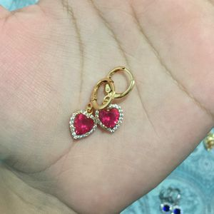 18k gold plated heart love earrings dangles for Sale in Silver Spring, MD