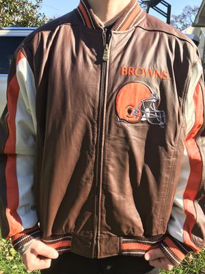 Cleveland Browns Full Leather Bomber Jacket-Size L for Sale in Fairfax, VA