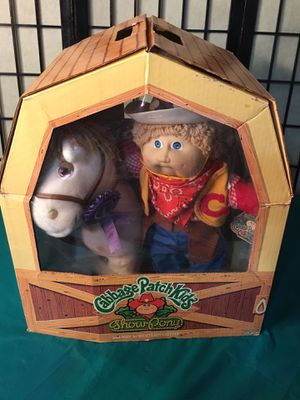 Photo Cabbage Patch kids In Box Show Pony And KID Western Outfit Excellent Vintage never used