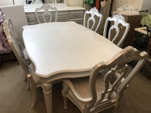 White/pearl dining room table and 6 chairs for Sale in Purcellville, VA