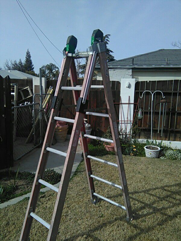 Werner fiberglass combination A-frame extension ladder 7 foot a ...