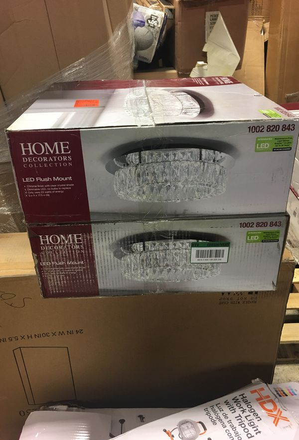 Home Decorators Collection Crystal 100 Watt Polished Chrome Integrated Led Semi Flush Mount For Sale In Atlanta Ga Offerup