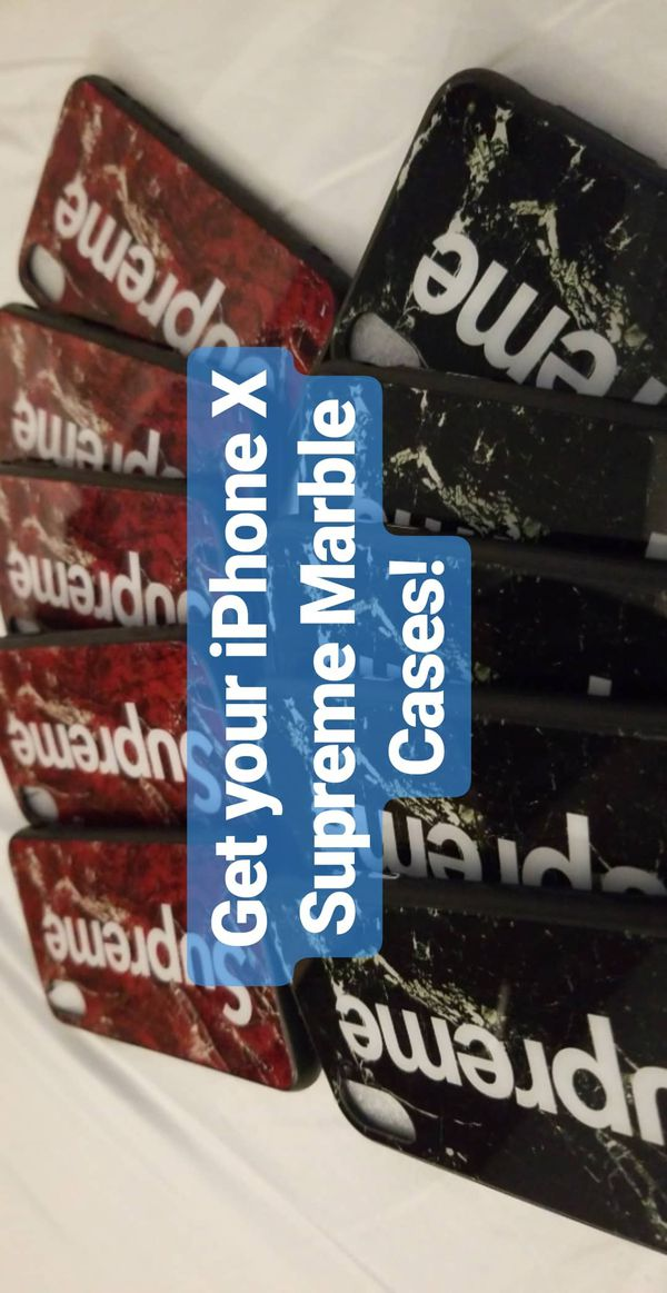 pretty nice 1e846 40fb6 Authentic Supreme iPhone X cases (black and red marble) for Sale in Union  City, CA - OfferUp