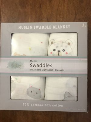 Brand new Baby Swaddle Blankets   2-Pack Organic Bamboo Muslin Cotton Swaddle Wrap 47'' x 47'' (pick up only) for Sale in Alexandria, VA