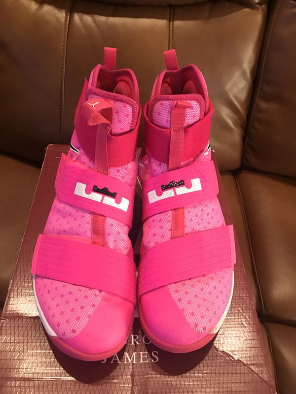 cbca3060778 Nike Lebron Zoom Soldier 10 Size 13 Kay Yow Breast Cancer Pink Sneakers