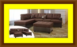 Chocolate sectional with free ottoman for Sale in Fairfax, VA