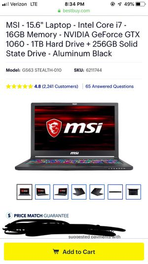"MSI Laptop - 15.6"" - Intel i7 - GeForce GTX 1060 - 1TB Hard Drive + 256GB Solid State Drive - Model GS63VR Stealth Pro - Gaming Laptop for Sale in Springfield, VA"