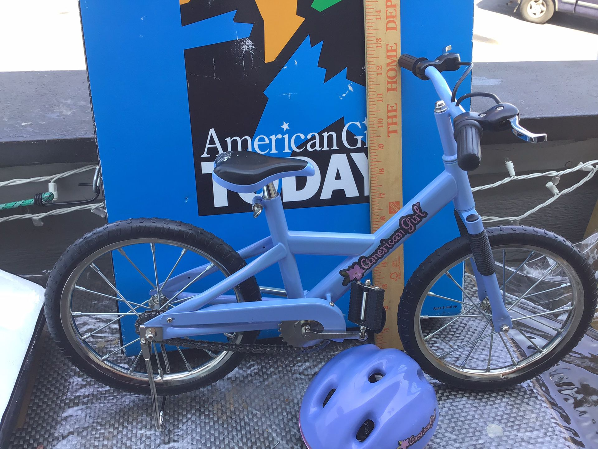American Doll bicycle and helmet
