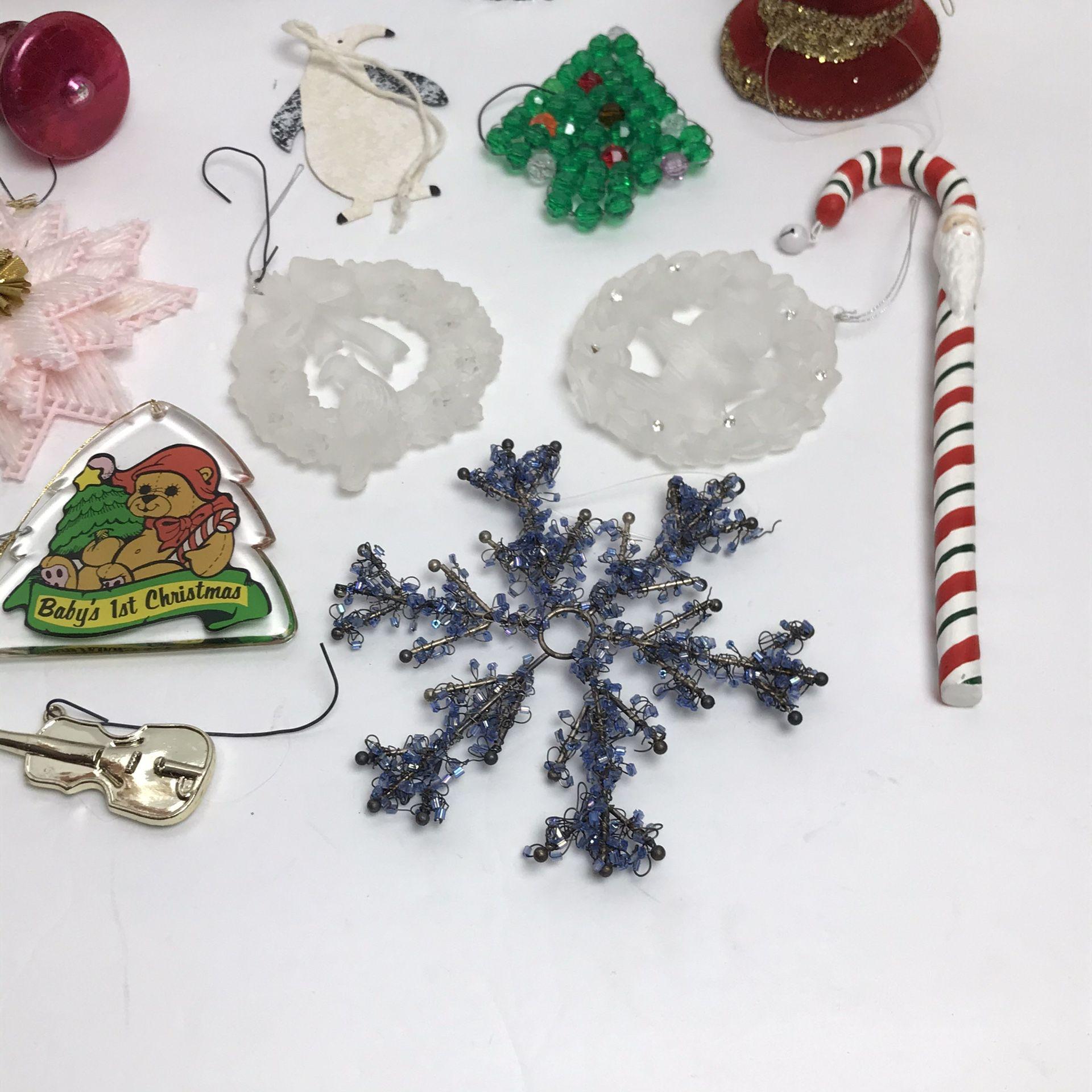 Huge Lot of 21 Vintage Christmas Ornaments Santa Snowflake Soldier