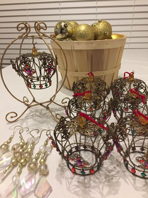 46-Piece Gold and Crown Ornaments for Sale in Rockville, MD